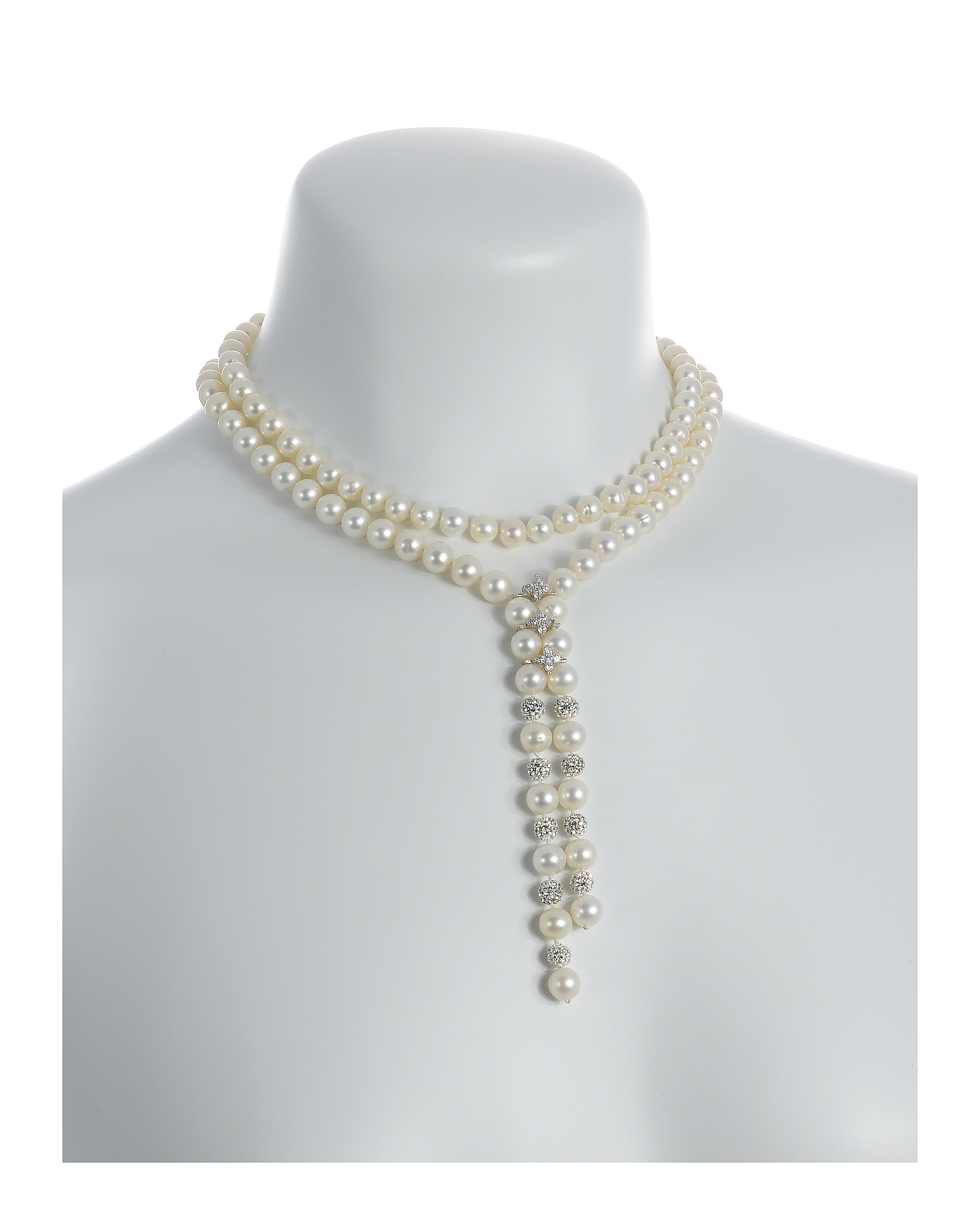 Diamond Falls - White Pearl Necklace with Swarovski Crystals