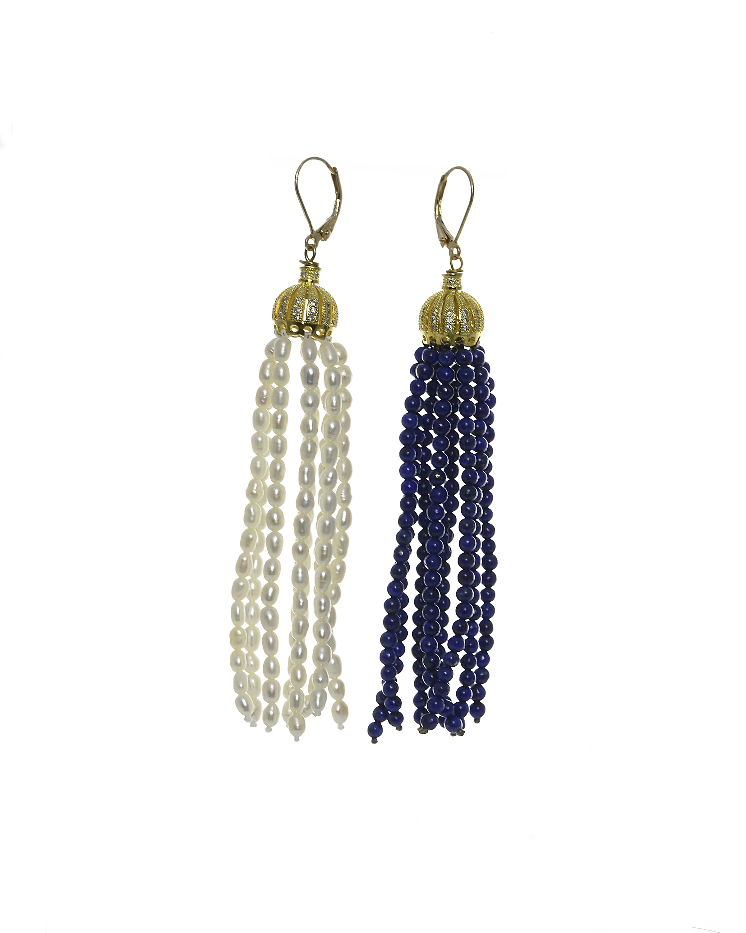 Obi - Seed Pearl & Blue Lapis Lazuli Tassel Earrings